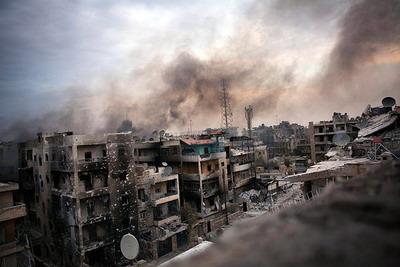 Разрушенный в ходе боёв сирийский город Алеппо