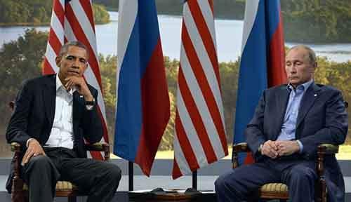 Президент США Барак Обама встречается с президентом Владимиром Путиным в рамках саммита G8 в Северной Ирландии, 17 июня 2013