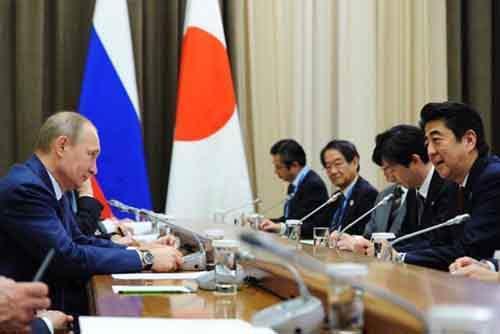 Путин на переговорах  с нынешним премьер-министром Японии Синдзо Абэ