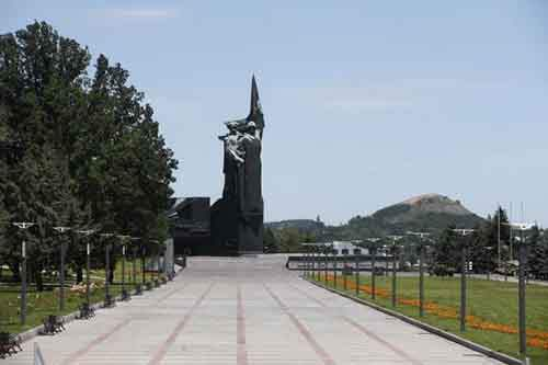 "The Soviet-era monument ""To Donbass Liberators"" stands in an empty park in Donetsk"