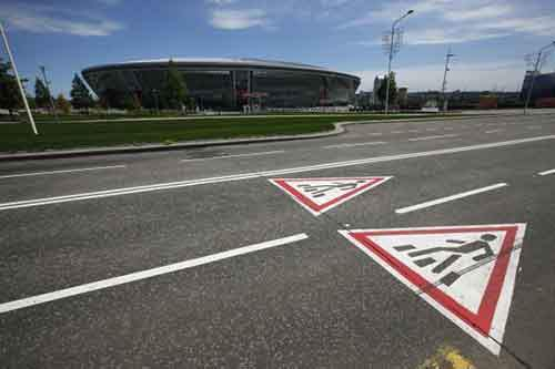 A general view of the Shakhtar stadium surrounded by empty streets in Donetsk