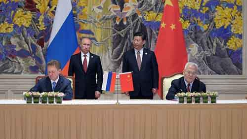 Vladimir Putin, Xi Jinping, Alexei Miller, Zhou Jiping