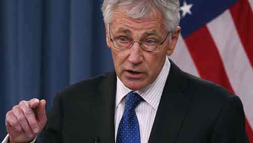 Chuck Hagel Hosts UK Secretary Of Defence Phillip Hammond At The Pentagon