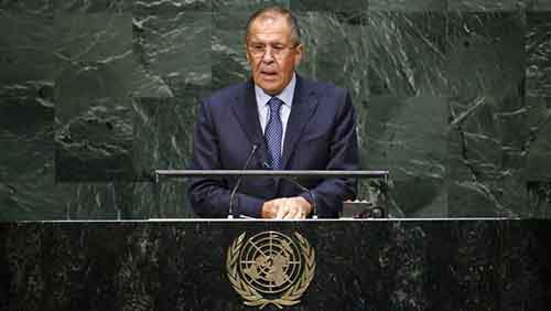 Russia's Foreign Minister Lavrov addresses the 69th United Nations General Assembly at the U.N. headquarters in New York