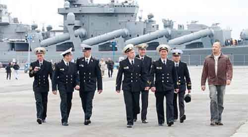 Officers and NCOs strutting from Russian Cruiser Varyag