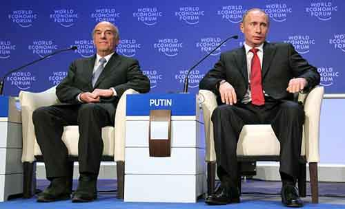 Opening Plenary of the World Economic Forum Annual Meeting 2009: Hans-Rudolf Merz, Vladimir Putin