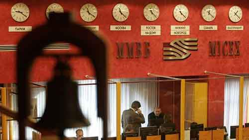 The hall of the MICEX stock exchange is seen in Moscow