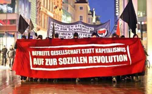 Демонстрация левых в Лейпциге в мае 2014 года