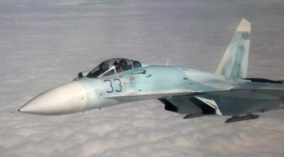 Российский истребитель Су-27 во время российско-американских учений «Vigilant Eagle» («Зоркий орел»)