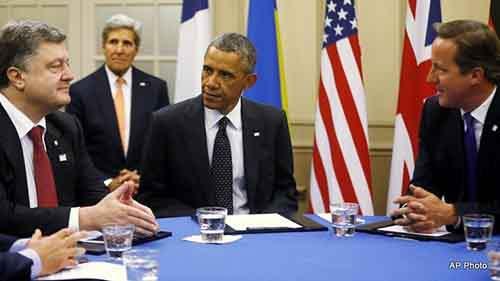 Barack Obama, David Cameron, Petro Poroshenko, John Kerry