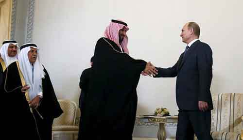 Russian President Putin attends a meeting with Saudi Defence Minister Prince Mohammed in St. Petersburg