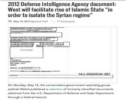 2012 DIA document creating ISIS