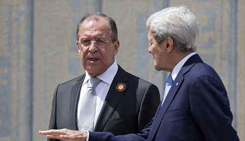 U.S. Secretary of State John Kerry and Russian Foreign Minister Sergey Lavrov speak at the Zakovkzalny War Memorial in Sochi