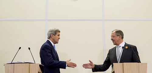 U.S. Secretary of State John Kerry shakes hands with Russian Foreign Secretary Sergey Lavrov after a news conference at the presidential residence of Bocharov Ruchey