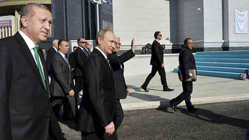 Erdogan, Putin and Abbas attend a ceremony to open the Moscow Grand Mosque in Moscow