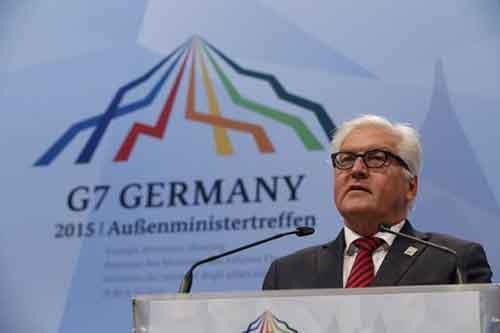 German Foreign Minister Steinmeier speaks at a news conference upon the second day of G7 foreign ministers meeting in the northern German city of Luebeck