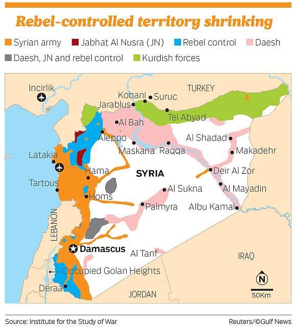 Контролируемая повстанцами территория сжимается