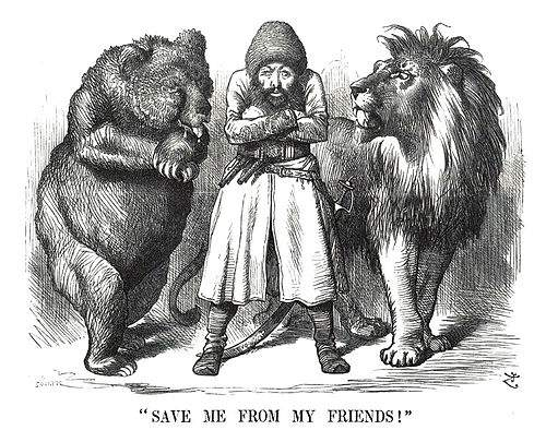 «Спасите меня от друзей!»: на этой политической карикатуре изображён афганский король Шер Али в окружении «друзей» – русского медведя и британского льва в разгар «большой игры» (1878 год)