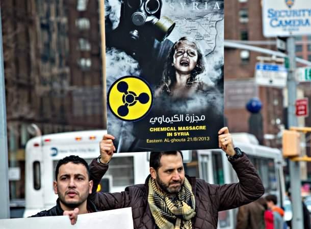 Декабрьский митинг в Нью-Йорке против поддержки Россией Асада