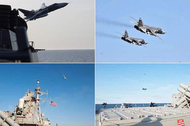 Подпись к изображению: Российские истребители пролетели в 10 метрах от эсминца USS Donald Cook в Балтийском море 12 апреля 2016 года