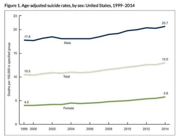 Подпись к изображению: Динамика числа самоубийств в различных возрастных группах в 1999-2014 гг.
