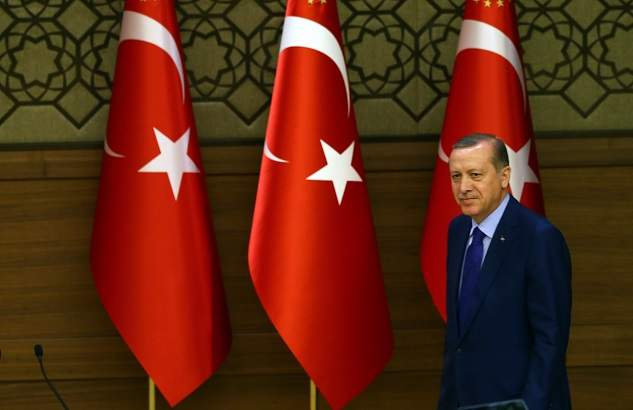ANKARA, TURKEY - APRIL 6:  Turkish President Recep Tayyip Erdogan attends a meeting with the neighborhood leaders (mukhtars) at the Presidential Complex in Ankara, Turkey, on April 6, 2016. ( Okan Özer - Anadolu Agency )