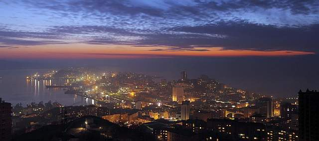 Egersheld district of Vladivostok city after sunset panorama
