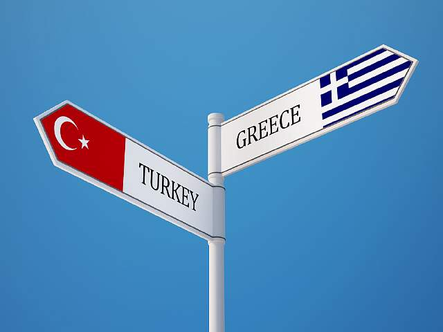 Turkey Greece High Resolution Sign Flags Concept