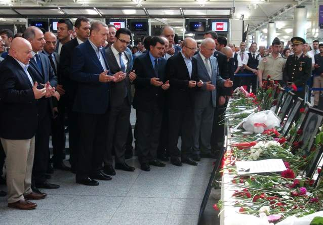 ISTANBUL, July 3, 2016 (Xinhua) -- Turkish President Recep Tayyip Erdogan (front row, 3rd L) mourns the victims of Tuesday's attack at Istanbul's Ataturk airport, July 2, 2016. Erdogan on Friday said the Islamic State (IS) is ''most likely'' behind the triple suicide bombing attacks on Istanbul Ataturk Airport.(Xinhua/Cihan) (zjy) (Credit Image: © Sinan Gul/Xinhua via ZUMA Wire)