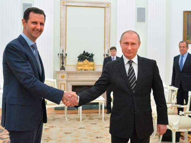 Подпись к изображению: Сирийский президент Башар аль-Асад и президент РФ Владимир Путин