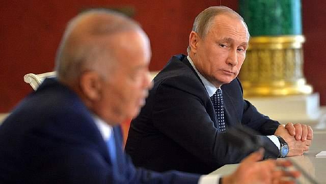 Подпись к изображению: Путин слушает речь Каримова на апрельской встрече 2016. Источник kremlin.ru