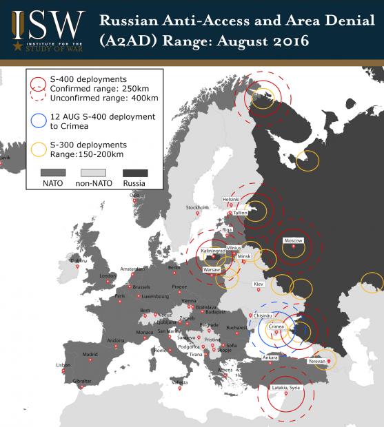 Подпись к изображению: Российские «бесполетные зоны» (A2AD) по состоянию на 1 августа 2016 года