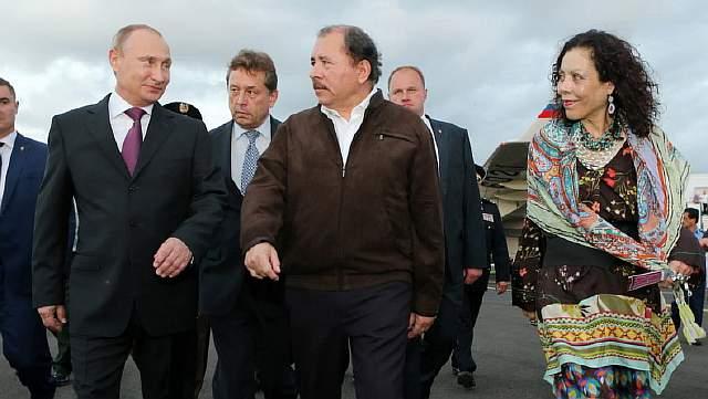 Daniel Ortega, Rosario Murillo, Vladimir Putin