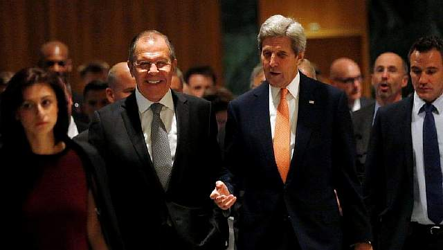 Подпись к изображению: Госсекретарь США Джон Керри и министр иностранных дел России Сергей Лавров в Женеве, 9 сентября 2016 года