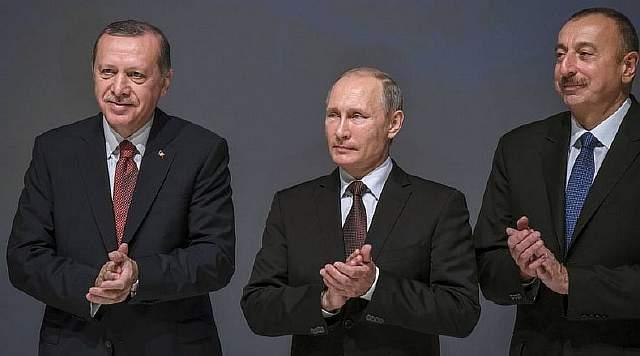 Подпись к изображению: Турецкий президент Реджеп Тайип Эрдоган, президент  России Владимир Путин и президент Азербайджана Ильхам Алиев плодируют в ходе 23-го Всемирного энергетического конгресса в Стамбуле, 10 октября 2016 года