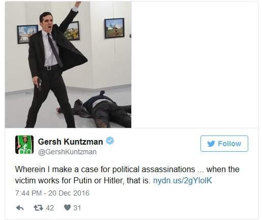 """Твит Кунцмана: """"Я тогда оправдываю необходимость политических убийств... Когда жертва работает на Гитлера или Путина. Вот так""""."""