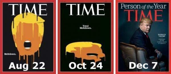 Подпись к изображению: Как все изменилось за четыре месяца… От краха, к полному краху, а затем к Персоне года