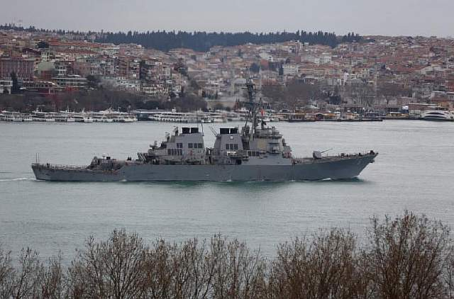 U.S. Navy guided-missile destroyer USS Porter sails in the Bosphorus, on its way to the Mediterranean Sea, in Istanbul
