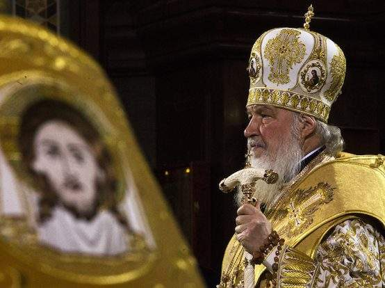 Подпись к изображению: Патриарх Кирилл, глава Русской Православной Церкви, защищает традиционные христианские ценности более решительно, чем многие лидеры западного христианства