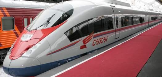 Подпись к изображению: Высокоскоростной поезд «Сапсан»