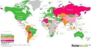 Легализация биткоина в различных странах на карте мира